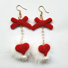 Earings Earing Tassel Earrings European And American Christmas Ornaments Lovely Fur Bow Loving Pearl Long Ear Jewelry 2019 real time limited aretes tassel earrings oorbellen european and american christmas jewelry lovely for apple long ear
