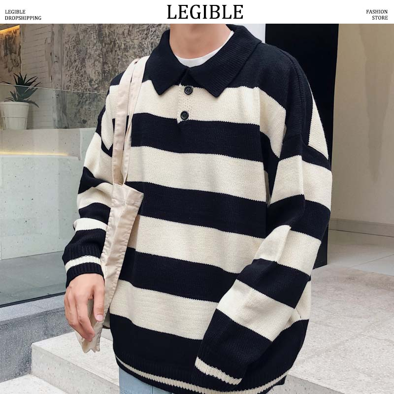 LEGIBLE 2019 New Autumn Hip Hop Patchwork Sweater Men Casual Loose Mens Sweaters Knitting Pullovers Men