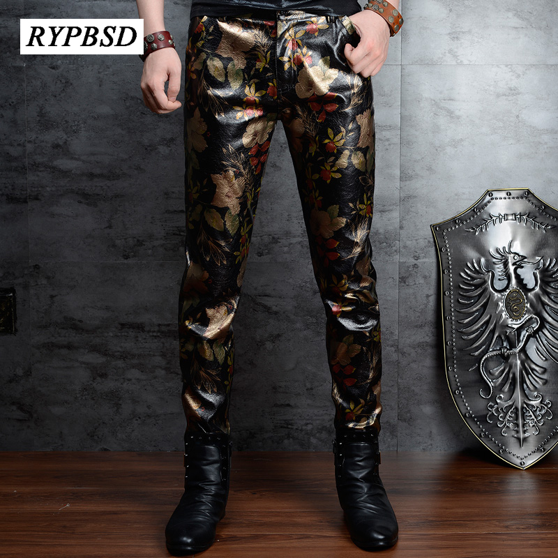 Faux Leather Pants For Men 2020 High Quality Fashion Print Gold Flower PU Leather Pants Korean Zipper Pencil Mens Skinny Trouser