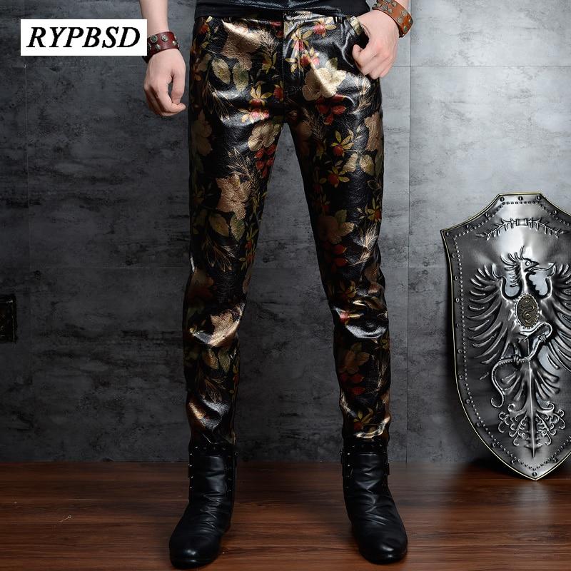 Faux Leather Pants For Men 2020 High Quality Fashion Print Gold Flower PU Leather Pants Korean Zipper Pencil Mens Skinny Trouser
