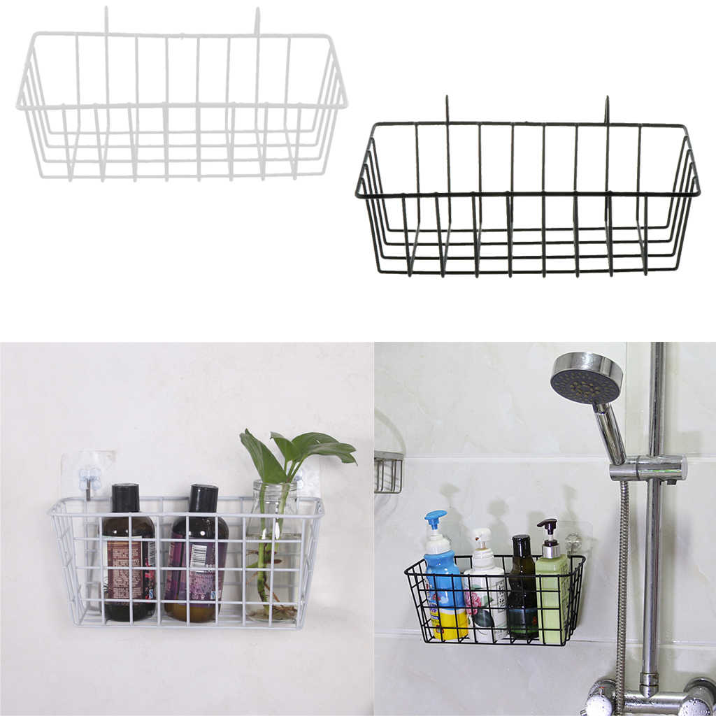 Grid Basket Wire Wall Basket With Hanging Hook Wall Mounted Organizer For Grid Panel Wire Storage Shelf Rack 23x10x8cm Storage Baskets Aliexpress