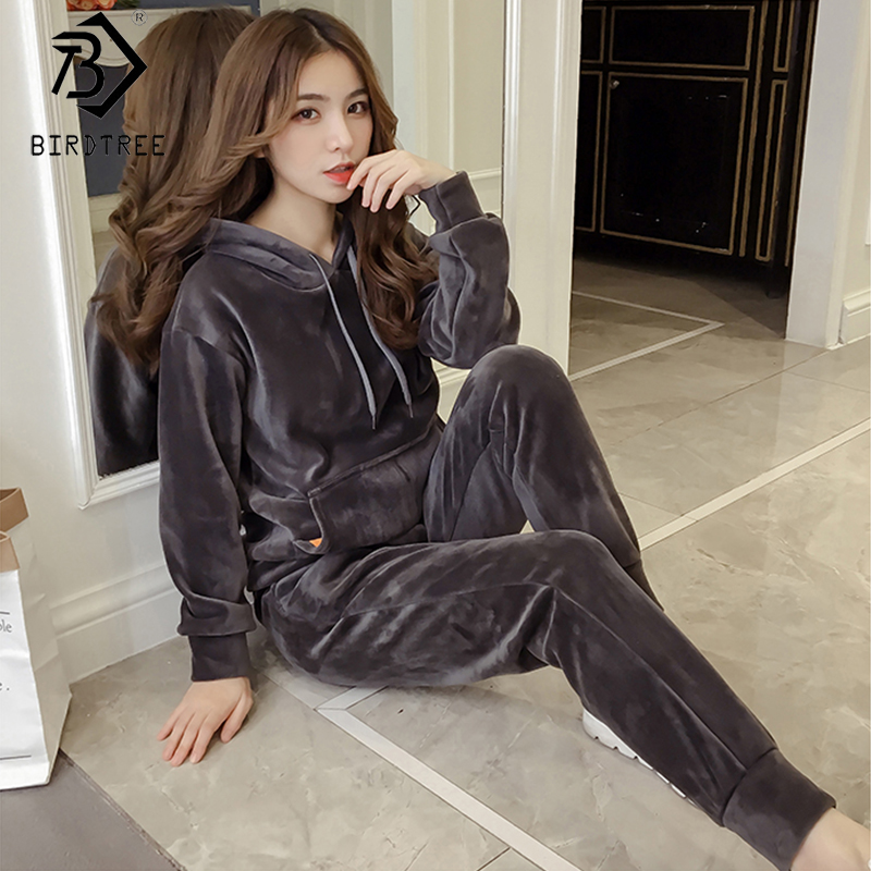 2019 Autumn Women's  Leisure Velvet Tracksuit Two Pieces Set Solid Hooded Pullovers Grey And Black Suits S99103K