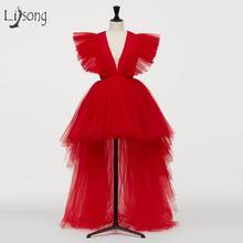Платье для выпускного вечера из тюля с глубоким v образным вырезом