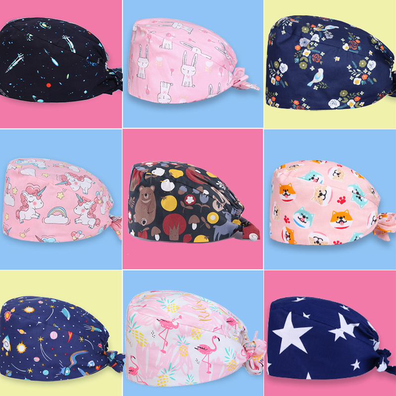 CGKUITER Unisex Tie Back Hats Adjustable Working Cap with Sweatband Cute Print Pattern
