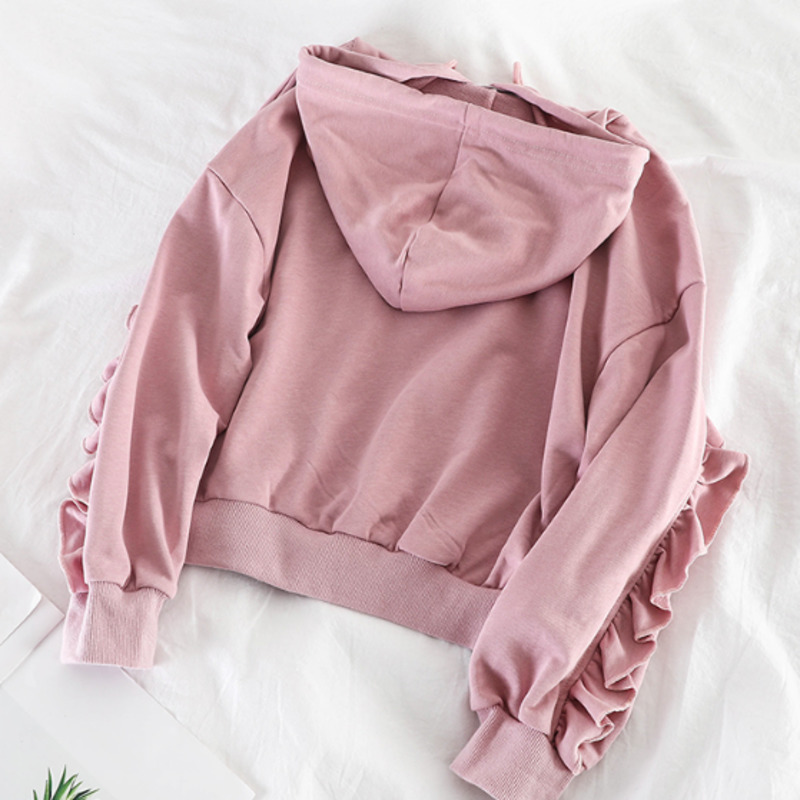 2020 Hoodies Women Black Pink Korean Fashion Kawaii Long Sleeve Moletom Cropped Autumn Streetwear Woman Lotus Leaf Loose Hedging