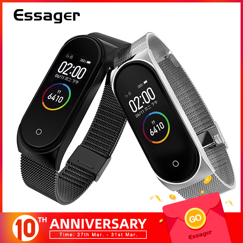 Essager Plating Metal Strap For Xiaomi Mi Band 4 3 Wristband Wrist Bracelet For Miband 4 3 Band4 Band3 Belt Correa Accessories
