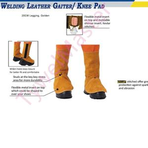 Image 2 - Professional Welding Spats Cowhide Leather Flame Heat Abrasion Resistant Working Shoe Cover Protector Welding Gaiter