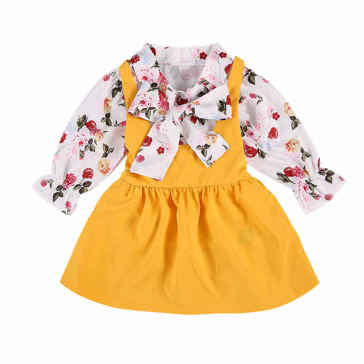 FOCUSNORM 0-5Y Autumn Lovely Baby Girls Clothes Sets Flowers Print Long Sleeve Single Breasted Bow Shirts Tops Bib Strap Dress