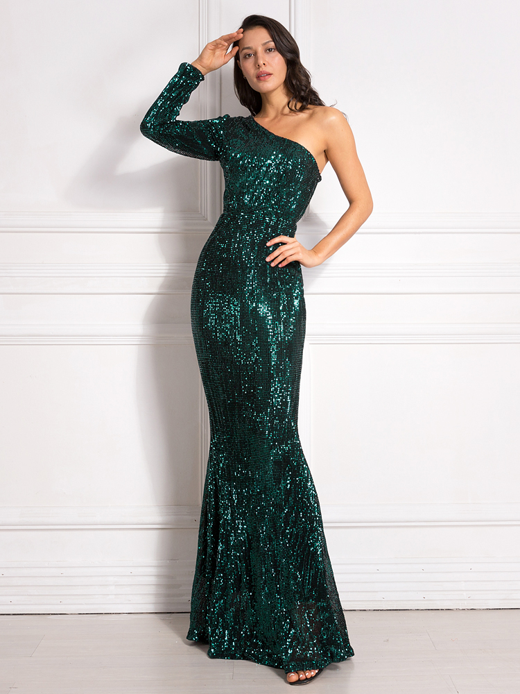One Shoulder Stretchy Backless Sequin Long Bridesmaid Dress 10