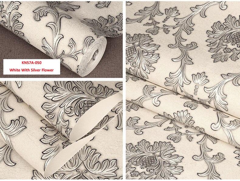 Blanc avec la fleur argentée, papier peint de couleur multiple conception moderne papier peint rouleau décor à la maison salon/salle de rafale, bricolage décoration - 3