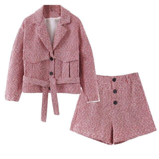 2019 레트로 여성 믹스 컬러 소프트 모직 체크 무늬 자켓 벨트 하이 웨이스트 라인 미니 짧은 반바지 긴 소매 코트 2 개 세트