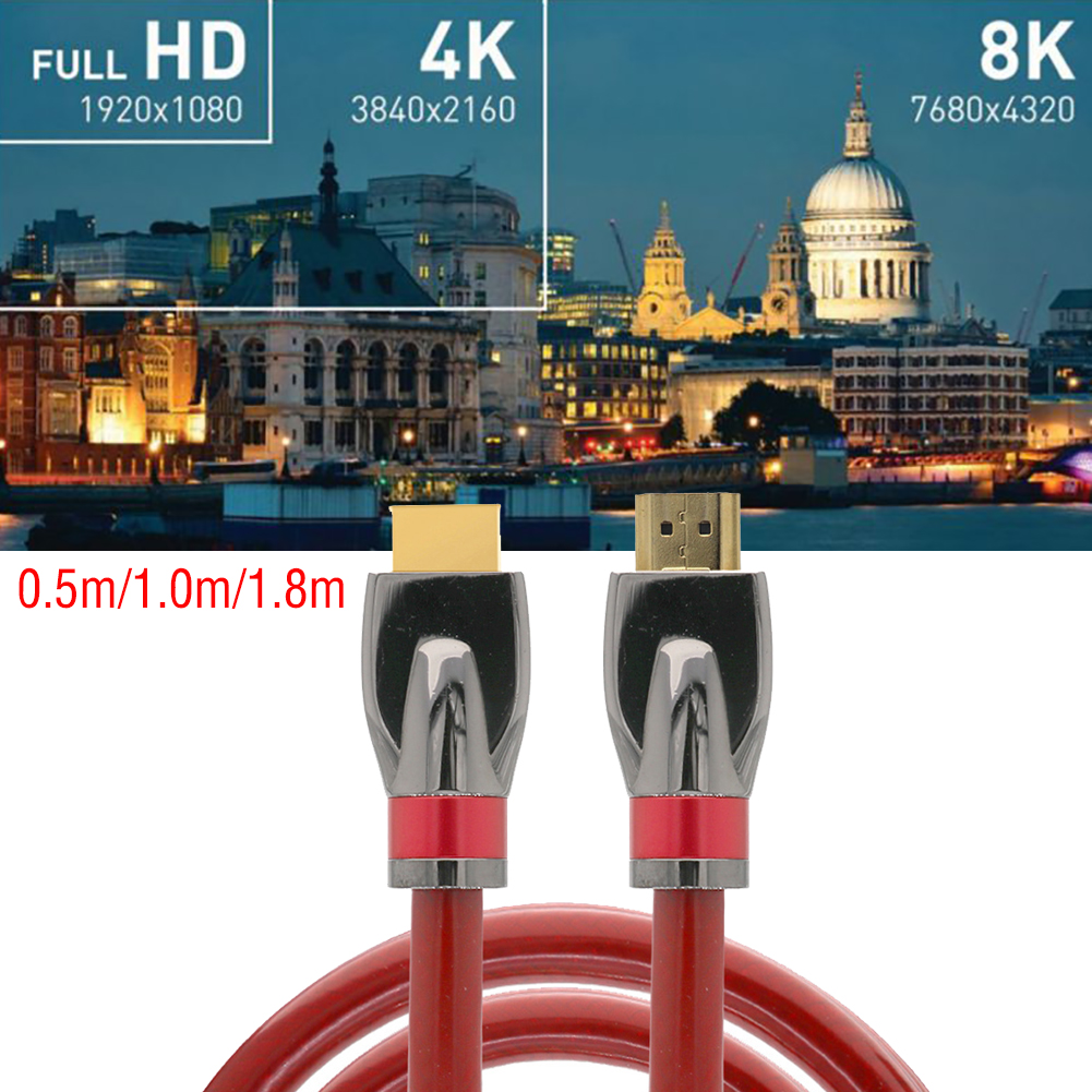 Cable For HDMI 2.1 8K 3D 120 Hz HDTV UHD High Speed Braided Cord 0.5m 1m 1.8m HDMI 120Hz 48Gbps For Xbox DVD Player PC