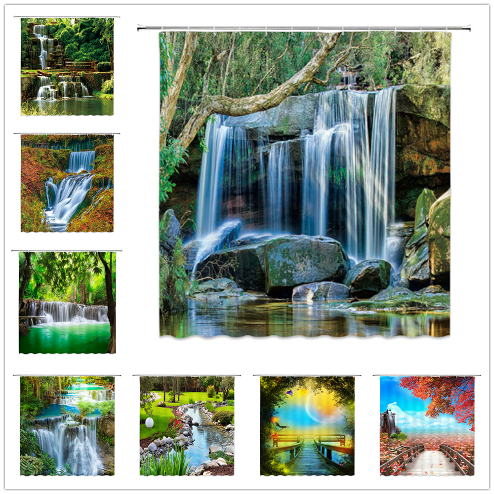 Natural Scenery Shower Curtains Waterfall Green Meadow Flower Spring Landscape Bathroom Decor Waterproof Cloth Curtain Set Cheap