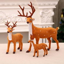 Cute gift 3 Size Christmas Deer Decoration Plush Reindeer Furry Home Ornament  Craft Elk Happy New Year Xmas Gift