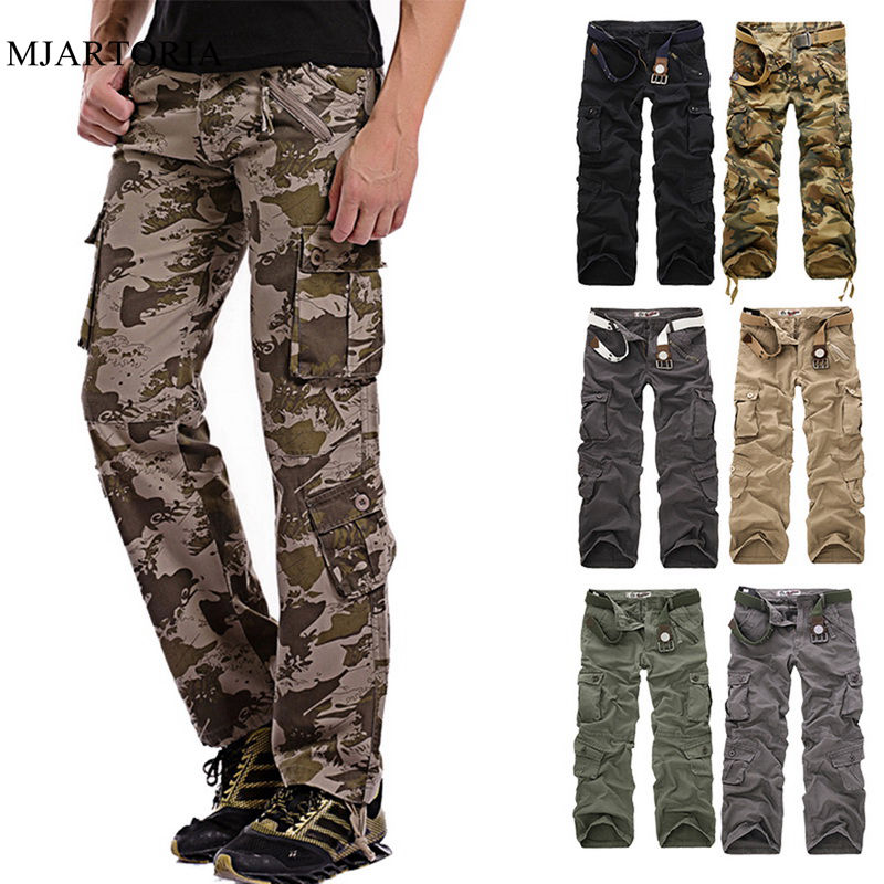 SHUJIN Men's Spring Summer Loose Multi-Pocket Military Camo Pants Fitness Casual Cotton Cargo Water Overalls Male Trousers