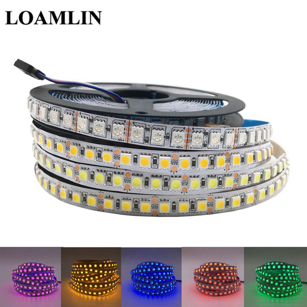 5050 RGB LED Strip DC12V 120LEDs/m Flexible Tape Light Warm White Cold White Ice Blue Pink Golden Yellow Red Green LED Strip