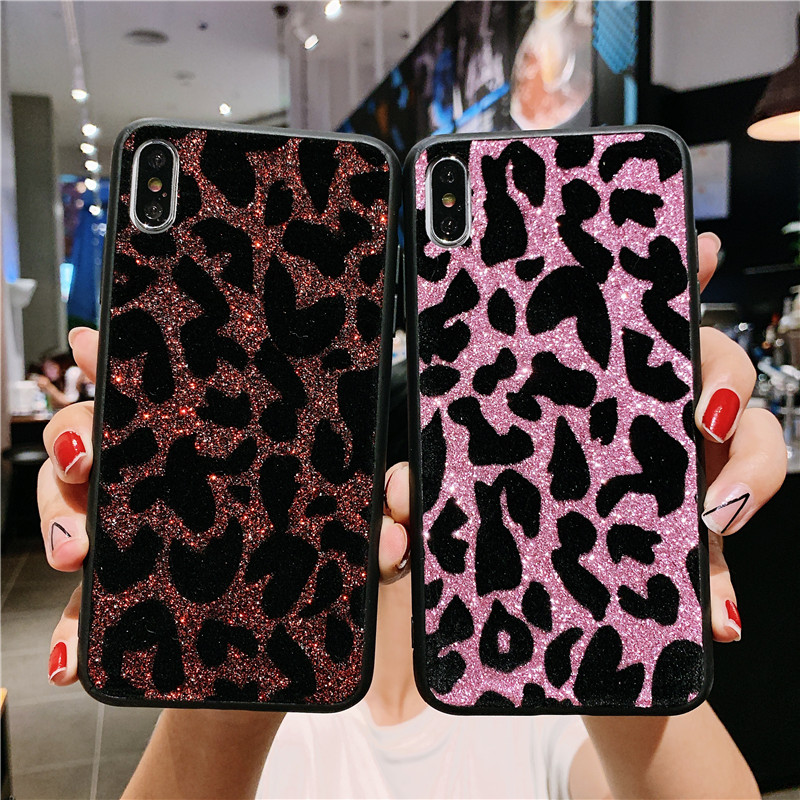 Bling Glitter Leopard Phone Case For Samsung Galaxy A9 2018 Case cover For Samsung S9 Plus Galaxy s10 A7 A6 A10 A30 A50 J4 J6 image