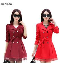 Women Trench Coat  Plus Size Lace Thin Double-breasted Coat Women Winter Outerwear Clothing 5 Colors coat 5