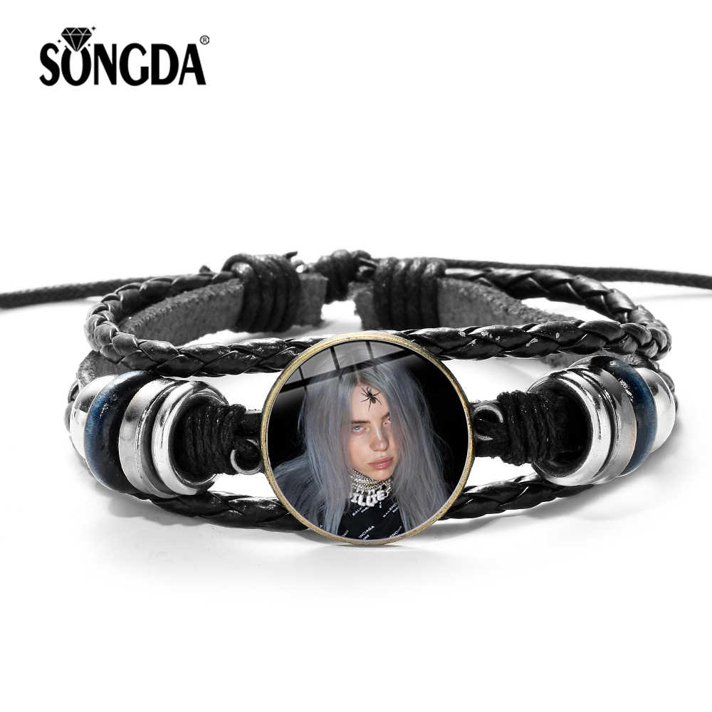 SONGDA Hot Billie Eilish Fans Leather Bracelet Harajuku Hip Hop Singer Art 3D Printed Glass Gem Charm Bracelet for Cool Girl Boy