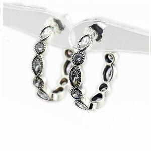 Alluring Brilliant Marquise Hoop Earrings for Women Clear CZ Sterling Silver 925 Jewelry Crystal Wedding Earrings Girls Jewelry