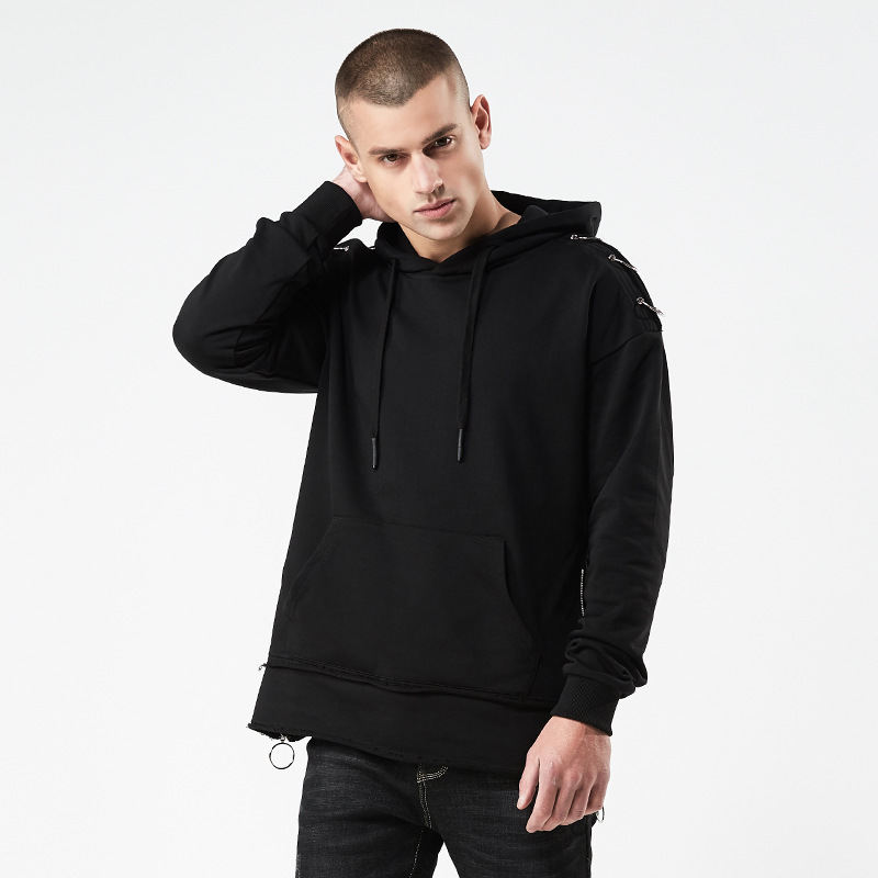 2018 Spring And Autumn New Style Simple Style Hong Wave Printed Letter Casual Hooded Loose Fit Sports Long sleeved Sweater Men's - 3