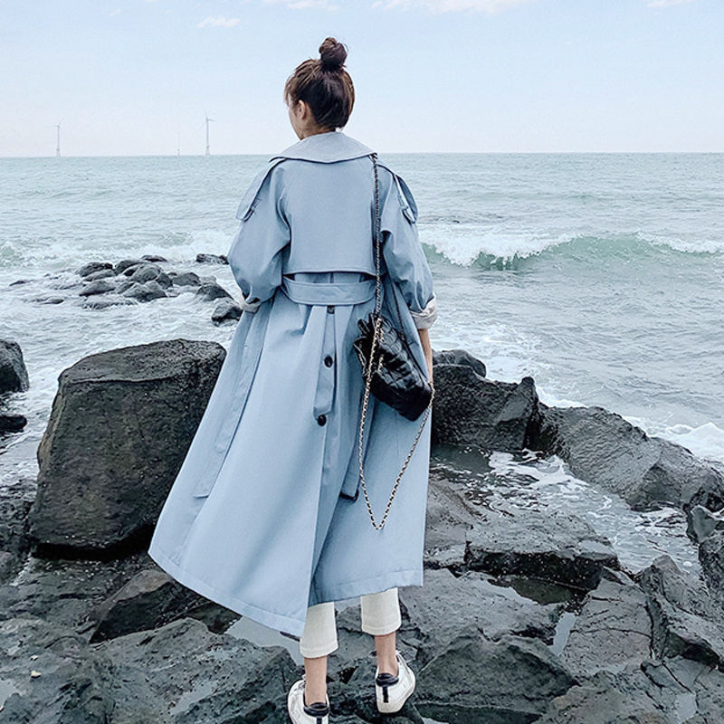 Women Fashion 2020 Spring Autumn Casual Double Breasted Casual Classic Long Trench Coat With Belt Chic Female Windbreaker V01