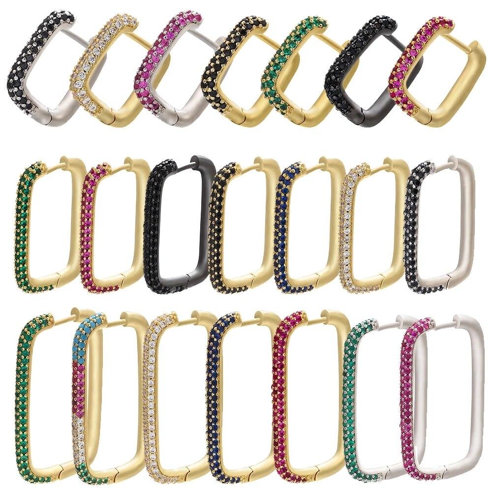ZHUKOU 2020 1piece Hoop earrings for women CZ Gold/ Silver Color Geometric Rectangle Earring rings big/small earring model:VE144