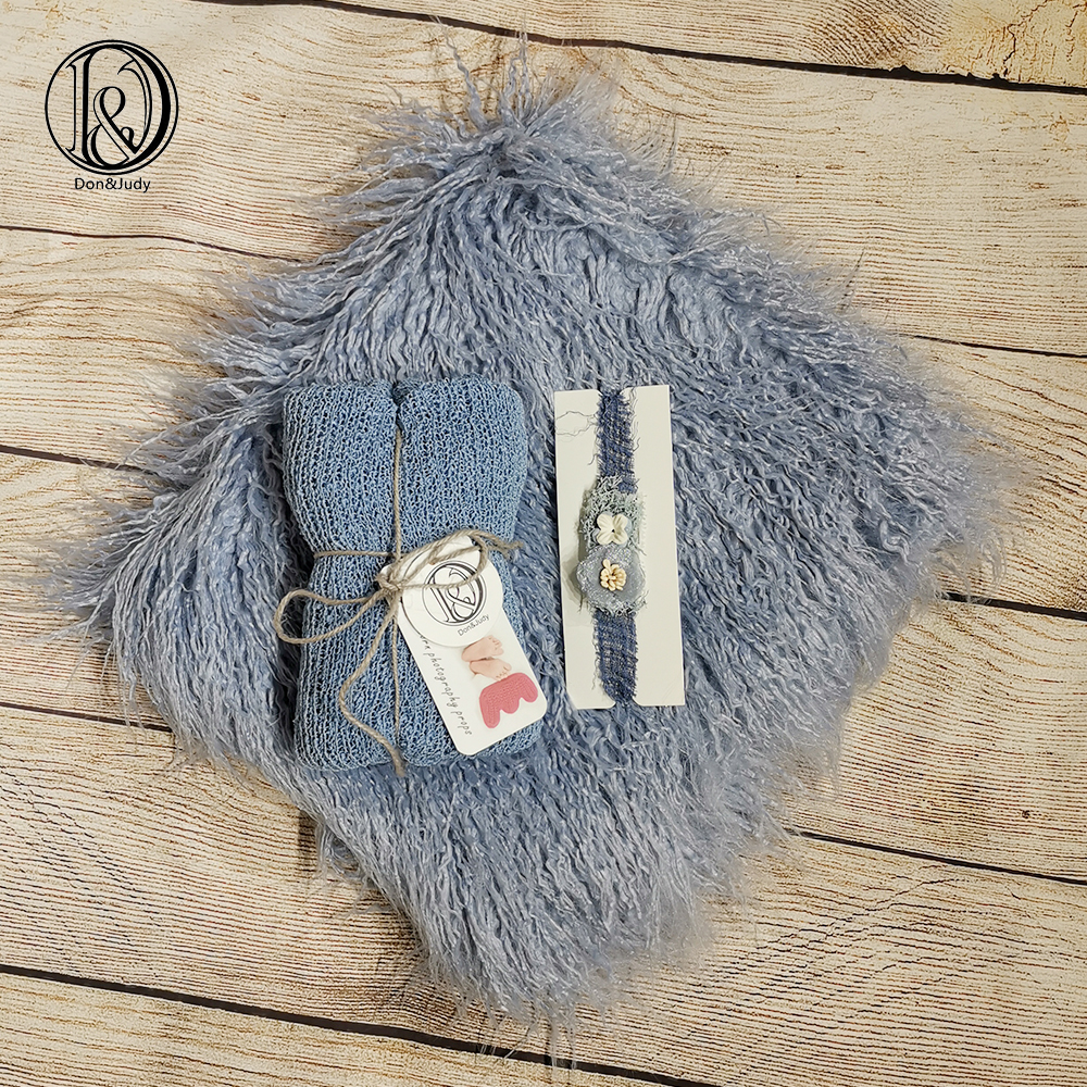 Don&Judy Newborn Photography Accessories 75x50cm Fur Blanket with Matched Wrap and Headband Sets Newborn Photo Baby Posing Props
