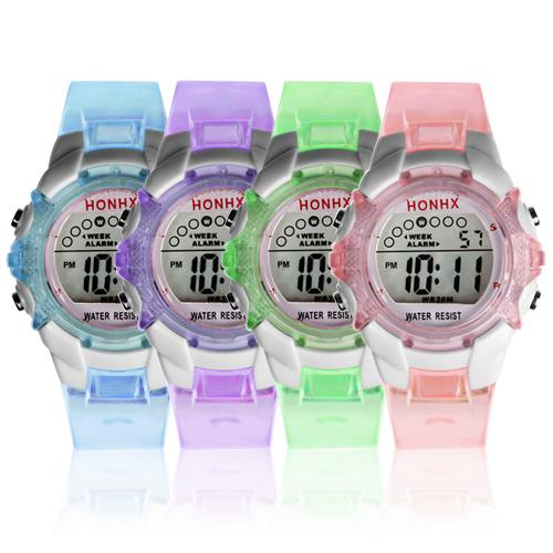 Adorable Boys Girls Digital LED Round Alarm Date Waterproof Sports Wrist Watch Relogio Montre Femme 2019 детские часы Children W