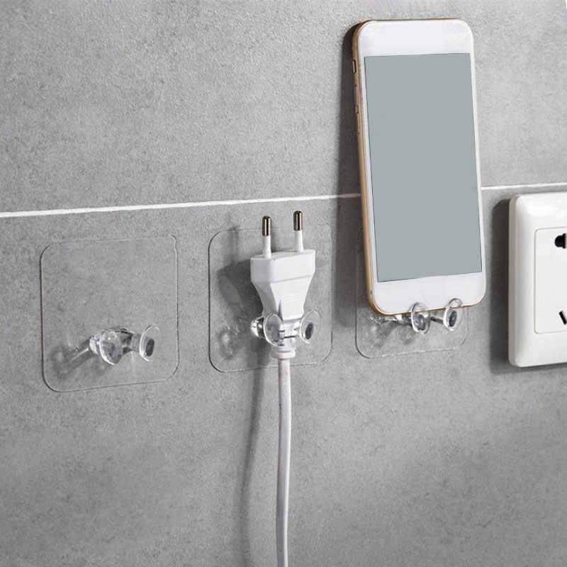 2pc クリア壁収納フック電源プラグソケットホルダー壁粘着ハンガーホームオフィス浴室フック 2019 PVC キッチンアクセサリー