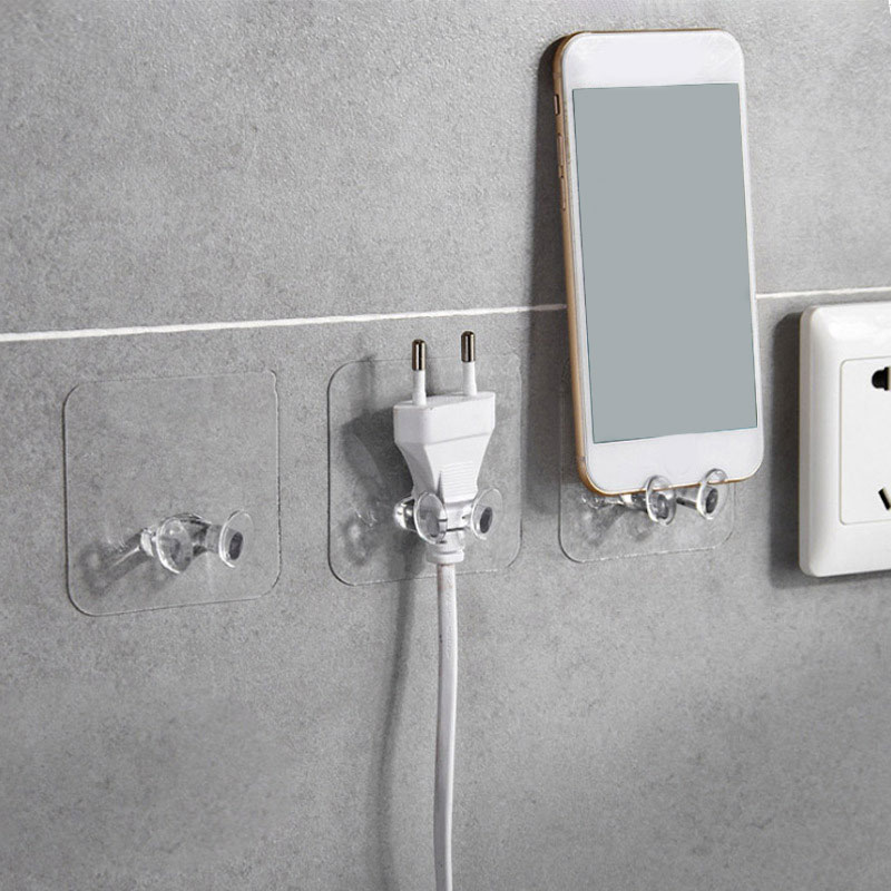 2pc Clear Wall Storage Hook Power Plug Socket Holder Wall Adhesive Hanger Home Office Bathroom Hook 2019 PVC Kitchen Accessories