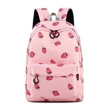Women Fashion Backpack Pink Harajuku Girl Cute Cartoon Style School Bag Kawaii Strawberry Print Shoulder Bags Casual Travel