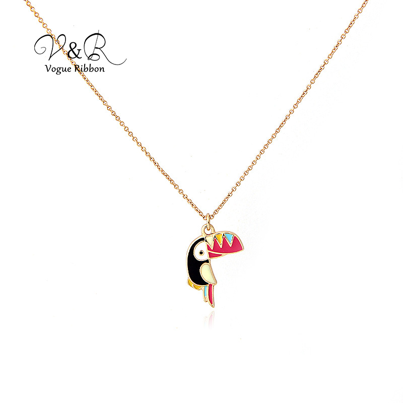 Imitation gold plated pendant necklace, cute epoxy toucan pendant, fashion jewelry for girl  (1)
