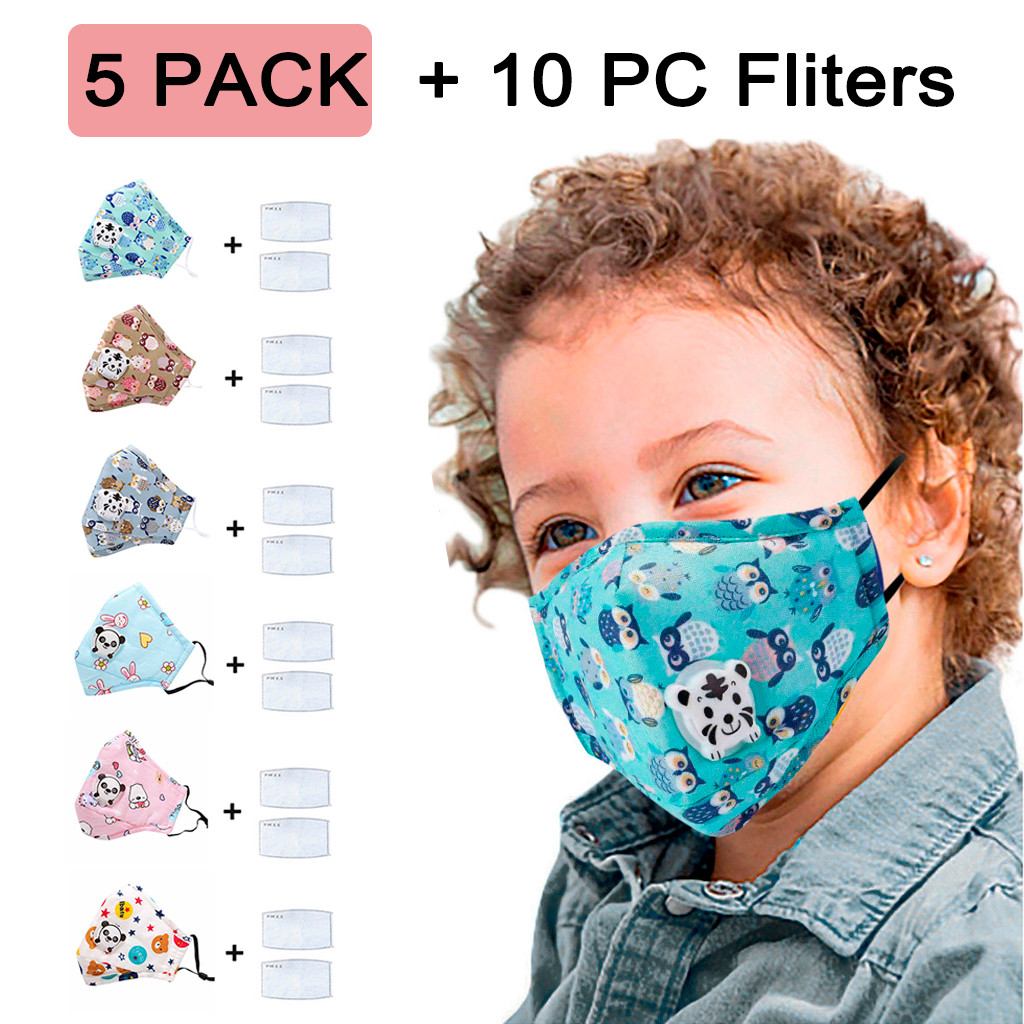 5 PCS Kids Anti Pollution PM2.5 Pure Cotton Mouth Mask Breath Valves Filter Papers Kids Anti-Dust Face Masks Filter Respirator