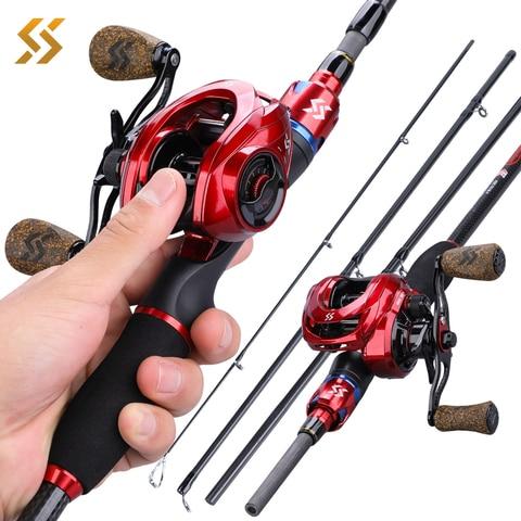 sougayilang 1 8m 2 1 pesca combo 4 secoes de fibra carbono vara de pesca