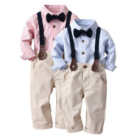 Cute Toddler Boy Clothes Kids Baby Boys Striped Gentleman Bowtie Long Sleeve Shirt+Overall Pants Wedding Sets Clothes Hot