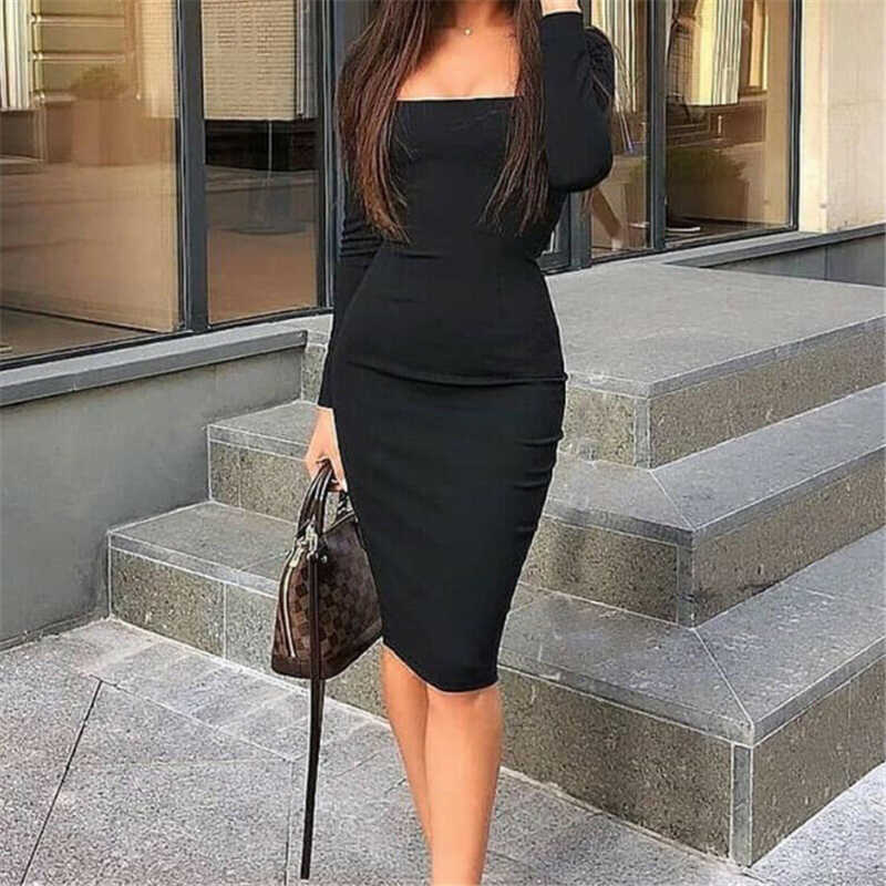 Womens Elegant Fashion Sexy Black Blue Red Cocktail Party Slim Fit Dresses Square Collar Long Sleeve Design Bodycon Midi Dress