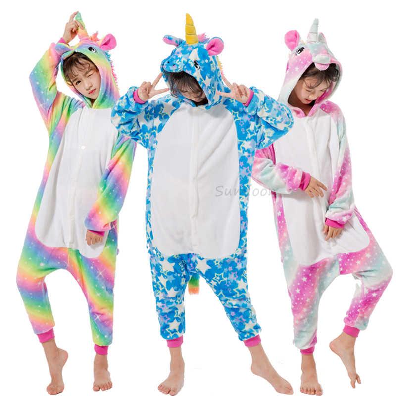 Crianças pijamas para meninos meninas kigurumi unicórnio pijama dos desenhos animados pijamas licorne coral velo quente onesie crianças pijamas unicornio