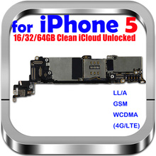 100% Original unlocked for iphone 5 Motherboard for iphone 5 Logic boards with IOS System, Free Shipping