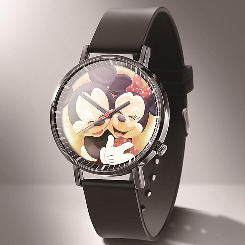 Зегарек дамски Новинка Мода Микки Женщины часы мультфильм дети кварц Часы Reloj Черный Кожа Ультратонкие женщины часы +% D1% 87% D0% B0% D1% 81% D1% 8B