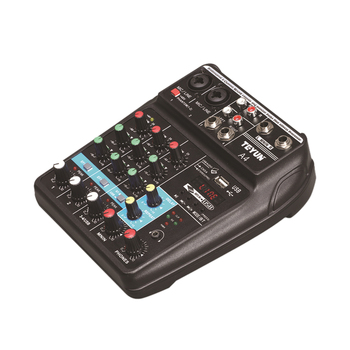 A4 4 Channels Audio Mixer Sound Mixing Console Bluetooth F4 Mixer Stage Outdoor Performance Conference Audio with USB - EU Plug