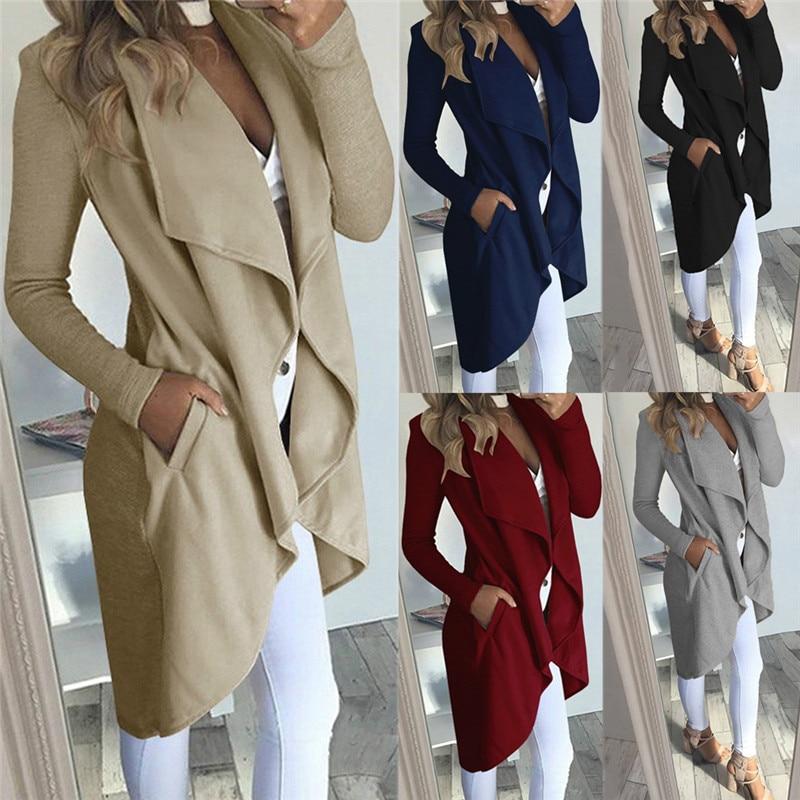 2019 Women Autumn Winter Warm Long Waterfall Coat Jacket Outwear Open Stitch Ladies Cardigan Overcoat Jumper Jalcket Plus Size