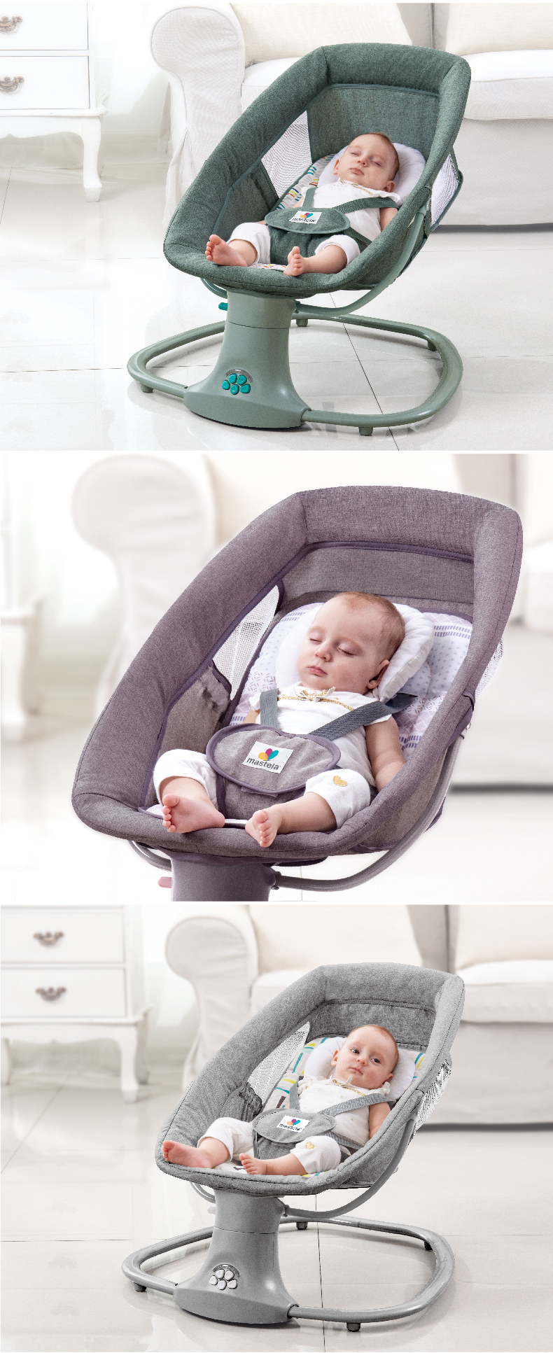 H8dcf919219fc4124b0c328f675b6b9830 Baby Electric Rocking Chair To Appease Smart Cradle To baby Sleeping Artifact Electric baby Rocking bed Swing