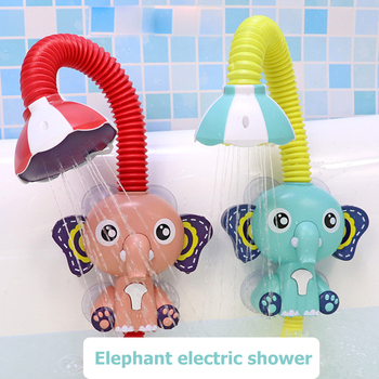 Cute Electric Elephant Water Pump with 360 Degrees Adjusted Hose Baby Bath Shower Head Spout Rinser Kids Shower Toys