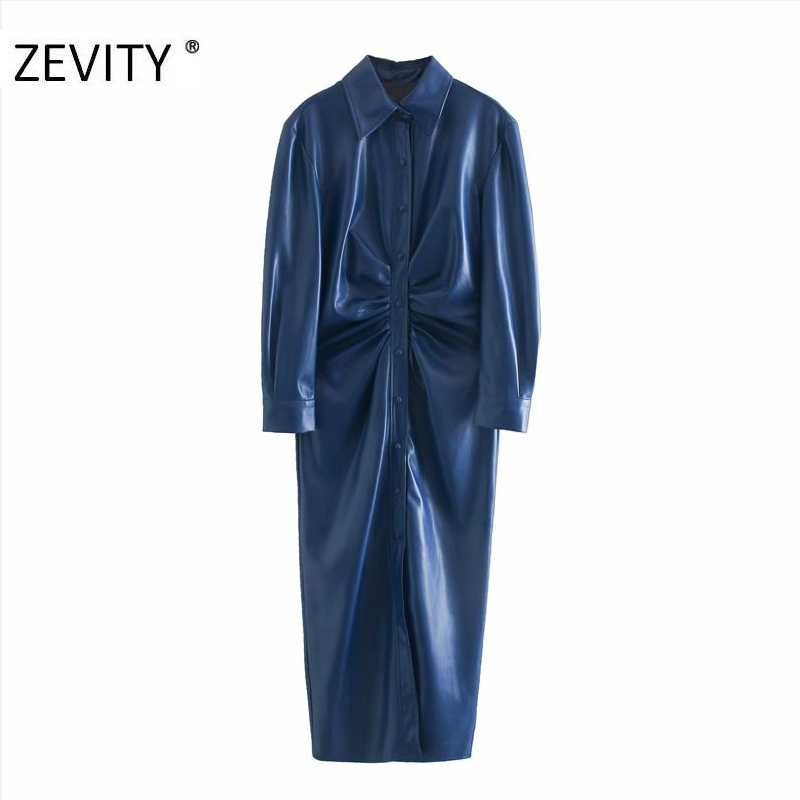 Zevity Vrouwen Mode Single Breasted Geplooide Pu Leather Shirt Jurk Kantoor Dames Lange Mouw Vestido Chic Herfst Jurken DS4458