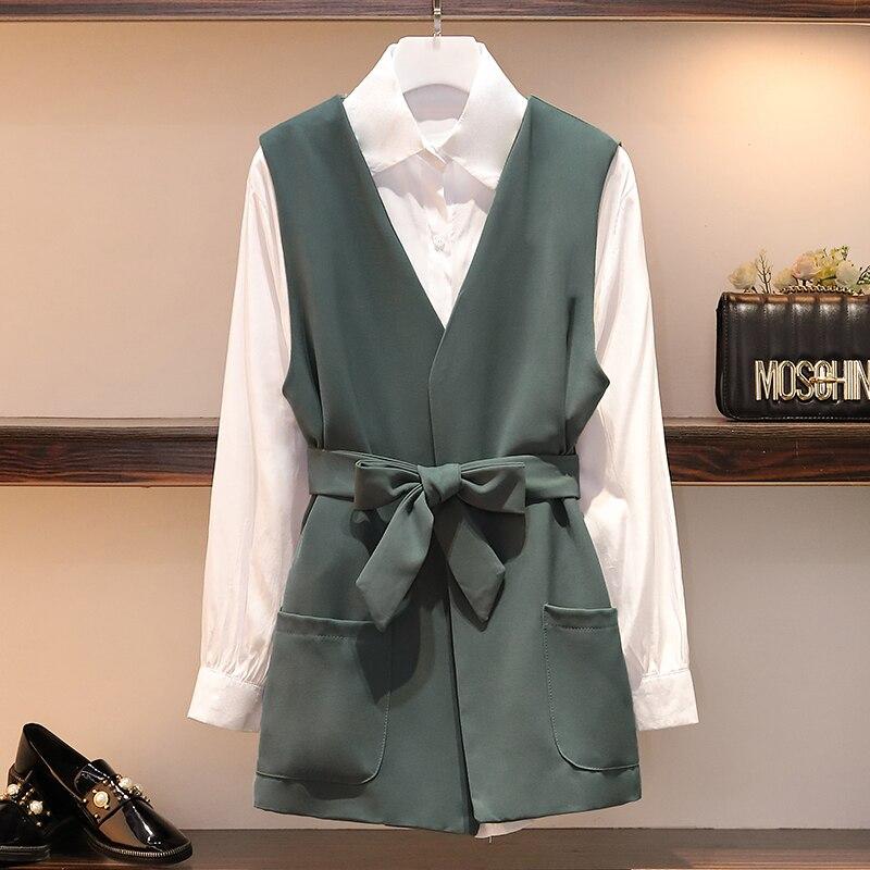 XL-5XL Plus Size Women Two Piece Set Autumn 2019 Fashion White Long Sleeve Cotton Shirts And Long Blazer Jacket With Belt