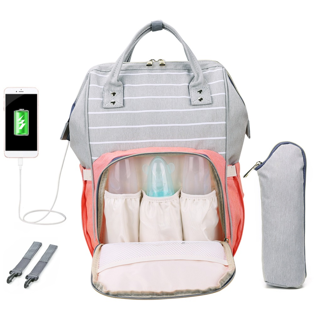 H8dcfee68f5084a7c9402700917aa3376N LEQUEEN Fashion USB Mummy Maternity Diaper Bag Large Nursing Travel Backpack Designer Stroller Baby Bag Baby Care Nappy Backpack