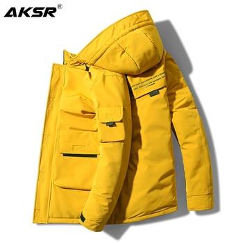 AKSR Men's Winter Jacket Coat Duck Down Jacket Large Size Thick Warm Long Hooded Coat Puffy Jacket Windbreaker Doudoune Homme