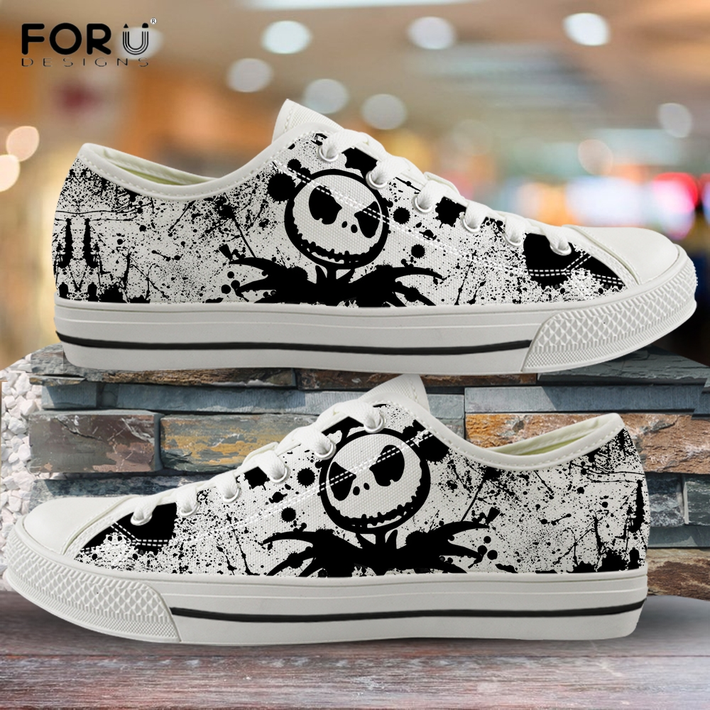 FORUDESIGNS The Nightmare Before Christmas Pattern Woman Low Top Canvas Shoes Spring Casual Lace Up Sneakers Fashion Footwear