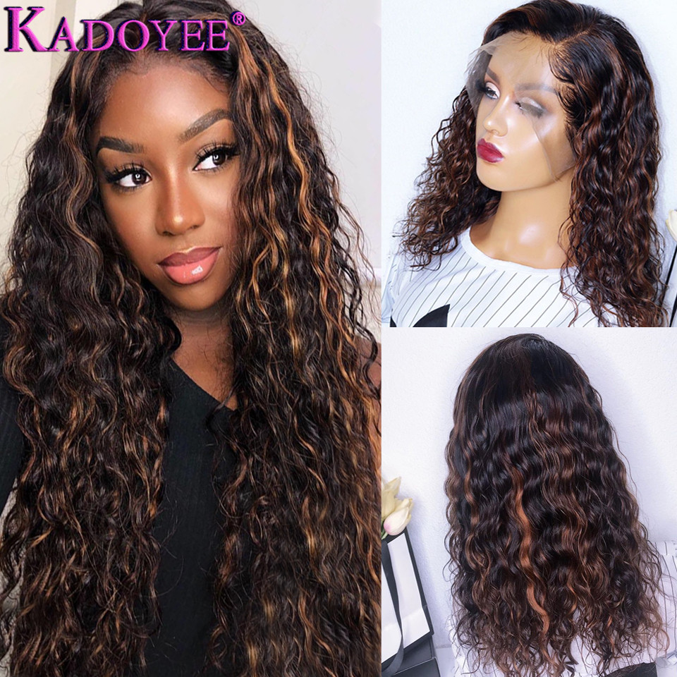 Ombre Colored Human Hair Wigs With Highlights Brazilian Hair Curly Wig 13x4 Lace Front Wig Pre-plucked Remy Hair For Black Women
